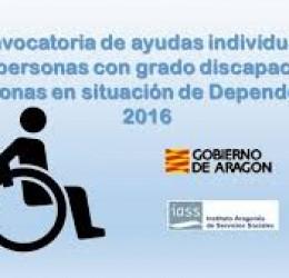 AYUDAS INDIVIDUALES PARA PERSONAS CON GRADO DE DISCAPACIDAD Y PERSONAS EN SITUACIÓN DE DEPENDENCIA 2016