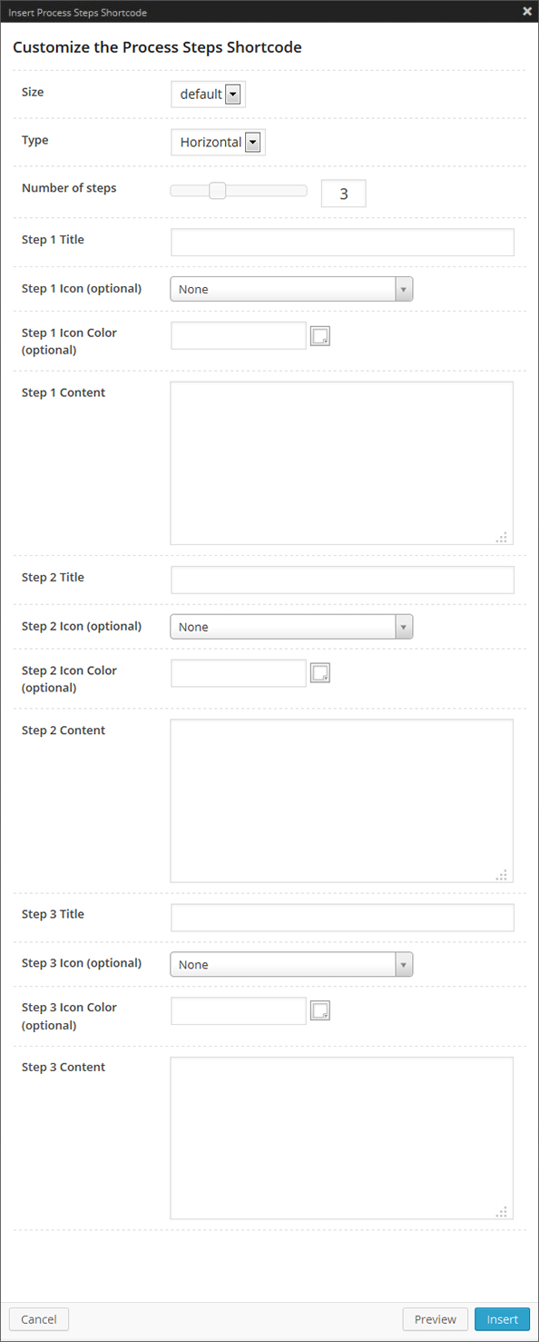 The Process Steps Shortcode Options Panel